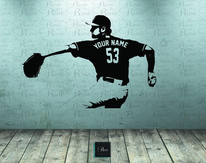 Baseball Wall Decal  - Wall Art CUSTOM NAME jersey numbers - Baseball bedroom decor - Baseball Player Vinyl sticker - baseball picther kids