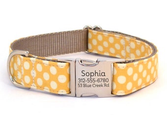 Personalized Dog Collar in a Yellow Polka Dot with Laser Engraved Buckle - ID Dog Collar Personalization - Dog Collar for Spring