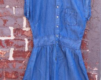Vintage 1990s Lightweight Denim Button Down Dress