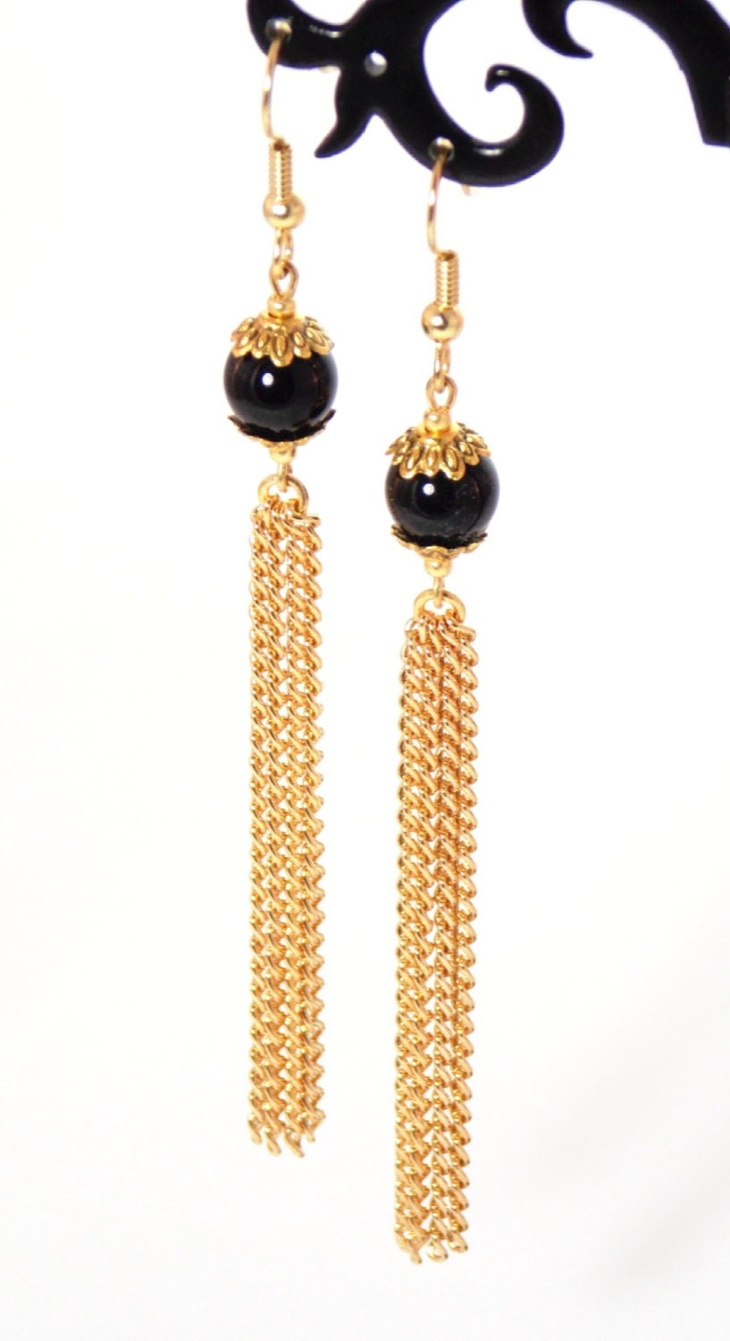 black and gold drop dangle tassel earrings clip on optional