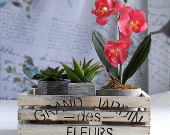 kitchen décor*Gift ideas*Handmade gift*Floral crate*Rustic wooden crate*Wood crate*Home decoration*Rustic crate