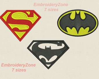 40% Off. Set from 3 logos of Superman, Batman & Superman against Batman. Embroidery design with fill. Not applique. 7 sizes each.Superheroes