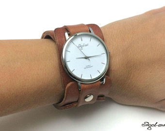 Woman Watch In Brown Leather-Women Watches-Leather Cuff Watch-Womens Watch-Cuff Watches-Tattoo Cover-Wide Wrist Watch-Tatoo Cover-Watch-