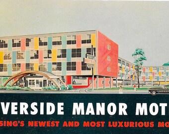 Postcard Mid Century Modern  Googie Motel Atomic Architecture Pastel Kitsch 1960s Lansing Michigan