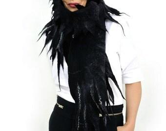 Shawl  / Silk Fiber Art / Wings shawl / silk scarf / Nuno felting scarf /  Handmade felted scarf / Merino wool/ Free shipping.