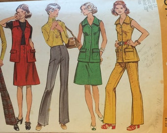 """HTF VTG 5141 Simplicity (1970's) misses' pants, top, & skirt.  Size 14, Bust 36"""". Complete, unused, neatly cut/uncut. Excellent condition."""