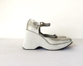 Vintage Metallic Silver Platform Shoes