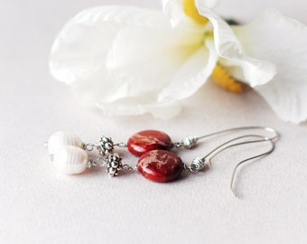 Red and white natural pearl earrings, freshwater pearls & imperial jasper wire wrapped earrings, Hand made long dangles, Gift for her