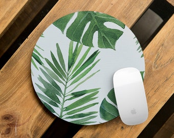 Office Mouse Pad Computer Mousemat Teacher Gift Printed Mousepad Cute Mouse Mat Square Mousemat Mouse Surface Green Tropical Leaves Design