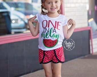 One in a Melon, Watermelon Tshirt, Summer Shirt, Sweet Shirt, Glitter Tee, One in a Million, Summer Tshirt, Watermelon, Girls Shirt, Toddler