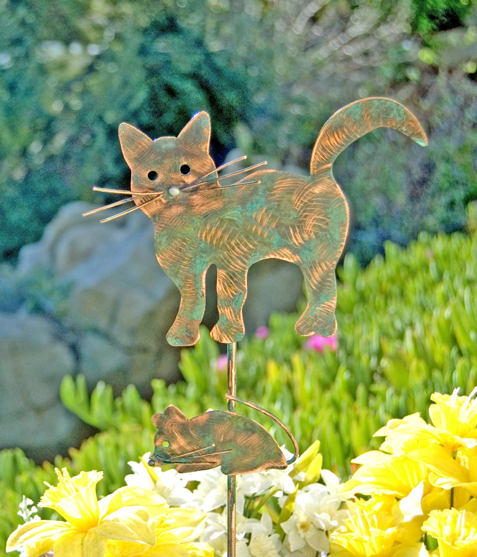 Cat and mouse garden stake metal garden art copper art for Cat yard art