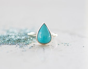 Sleeping Beauty Turquoise and 14k Gold Ring, Southwest Jewelry, Teardrop Turquoise Ring by Prairieoats