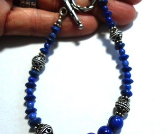 Lapis Bead Bracelet with Sterling AAA Quality Genuine Lapis Bead Bracelet with Sterling Bali Beads and Toggle Closure