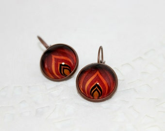 The Levels of Flame, Vector Art, Antique Copper, Glass Cabochon, Flame Earrings