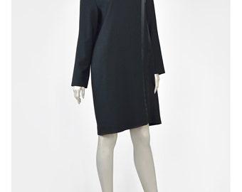 Black Wool Dress Satin Trim Striped Dress Evan Picone 90s Dress Long Sleeve Shift Dress Minimalist 1990s Dress Little Black Dress