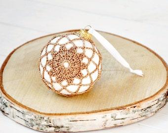Gold Christmas décor - Gold Lace Ornament - Christmas in July - Crochet Christmas Ornament - Crochet Holiday Decor - Gold Crochet Ornament