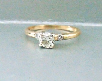 Vintage Diamond Solitaire Engagement Ring, 14K, Yellow and White Gold, Wedding