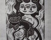 Self Portrait as Tlatilco Figure Linocut print in black and white