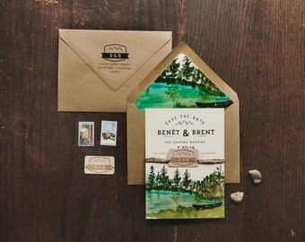 Custom Watercolor Save The Date: Woodland Forest and Trees Mountain Watercolor