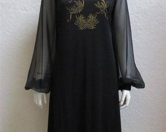 """On Sale! 1960's """"Alfred Shaheen"""" Black Sheath Dress With Gold Floral Designs And Sheer Sleeves - Bust 36 Inches"""