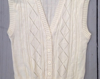 New Vintage Diamond Knit Ivory Cream Hipster Librarian Sweater Vest Argyle