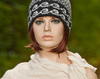 Hand knitted fair isle hat with pompom and with double brim, jacquard hat, black and white colors, winter hat, woolen hat, for women, girls.