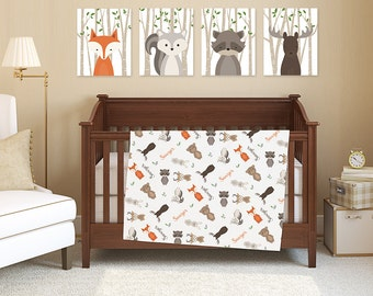 Baby Blanket with name Woodland Crib Bedding Jersey knit or Fleece Blanket Fox Bear Bunny Moose Animal Baby Blanket Woodland Nursery Bedding