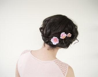 Cherry Blossom Flower Hair Pin Set of 3 | Flower Bobby Pins | Hair Piece Wedding Hair Pins