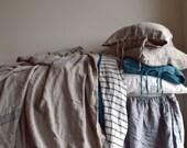 Vintage Grainsack Blue Stripe Heavy Linen Coverlet ⎮Bed cover⎮Quilt ⎮Summer Blanket⎮Decorative Bed Throw