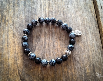 yoga Intention bracelet Snowflake Obsidian Grounding, Protection Mala inspired boho chakra jewelry by Creations Mariposa BI-OF