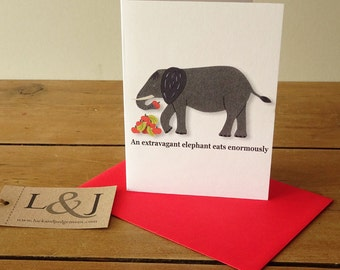 Elephant card - grey elephant - funny animals - greeting cards - animal note cards - wildlife gift - african - indian elephants