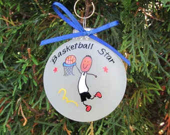 Basketball Christmas ornaments,afroamerican custom personalized ornament,basketball ornament,gift for basketball,ornament,gift,tree ornament