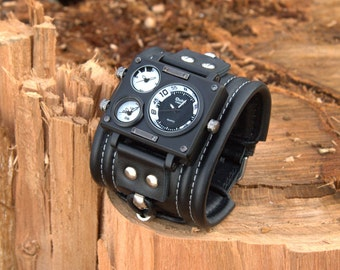 """Mens wrist watch bracelet """"Caribs-2""""- Steampunk Watches - SALE - Worldwide Shipping - gifts for him - Leather cuff wrist watch"""