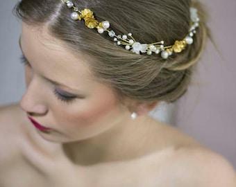 Bridal Gold Headband,Wedding Gold Crown,Bridal Tiara Crown,Wedding Gold Hair Vine,Wedding Halo Crown,Pearl Floral Crown,Pearl Crystal Crown