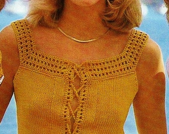 Lace Up Tank Top Vintage Knitting Pattern Download