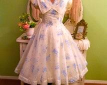 Chiffon 50s Dress, Blue Sheer Prom Dress, 1950s Cream Cupcake, S, XS, Vintage Party Dress, Hollywood Glam, Wedding, Lined Rockabilly Dress
