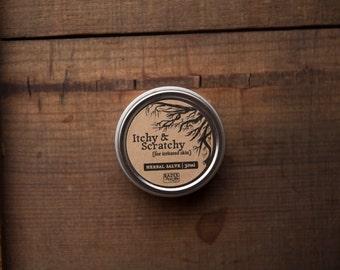 Herbal Salve - Itchy, Irritated Skin, Bug Bites - Chickweed, Plantain, Tea Tree, Eucalyptus - Rash, Dermatitis, Anti-itch - Healing Salve