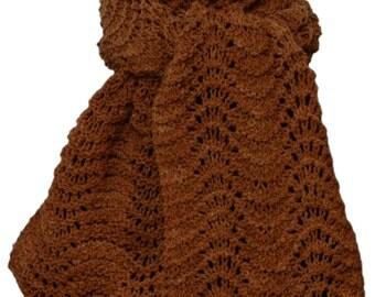 Hand Knit Scarf - Sorrel Brown Cody Feather & Fan Mountain Meadow Wool