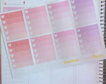 Watercolor Hearts Collection Erin Condren Full Box Heart Checklists planner stickers!