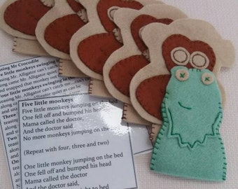 Monkey and Crocodile Finger Puppets