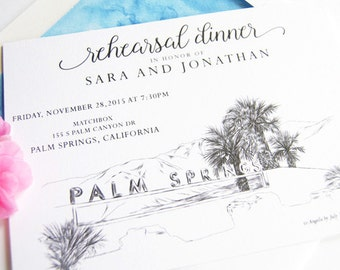 Palm Springs Skyline Weddings Rehearsal Dinner Invitations (set of 25 cards)