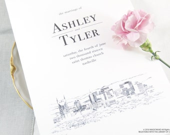Nashville Skyline Wedding Programs (set of 25 cards)