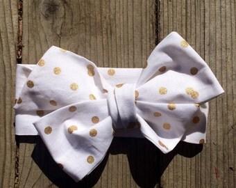 Gold Headwrap, Polkadot Headwrap, Glitter,Sparkle Headwrap, Baby Headwrap, Toddler Headband, Big Bow Headwrap, Infant Headwrap, Baby Girl