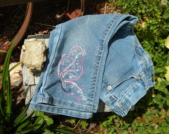 SALE!  Hand embroidered Repurposed Cherokee 18 month jeans