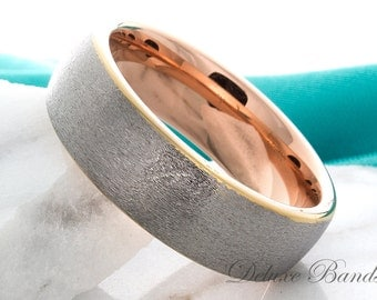 Tungsten Wedding Band 8mm Rose Gold Plated Two Two Tone Tungsten Ring Anniversary Ring For Him Promise Ring For Her Custom Laser Engraving