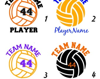 Multicolor Custom Volleyball Decal - With Name