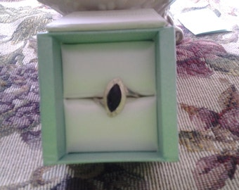 Marquise Onyx sterling silver ring