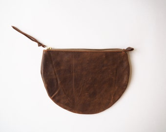 Half-circle Leather Pouch Clutch Wallet Womens Purse
