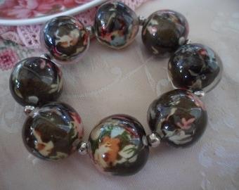 vintage black floral silk Lucite bead bracelet