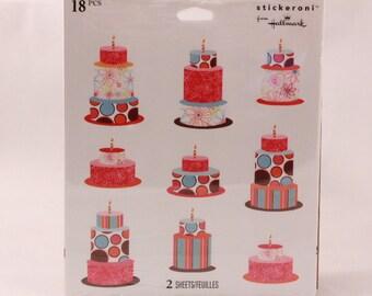 Vintage Sealed Stickeroni Stickers by Hallmark. 2 Sheets. 18 pieces. Birthday Cake